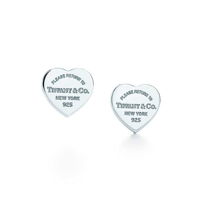 Tiffany, orecchini argento a cuore piastrina