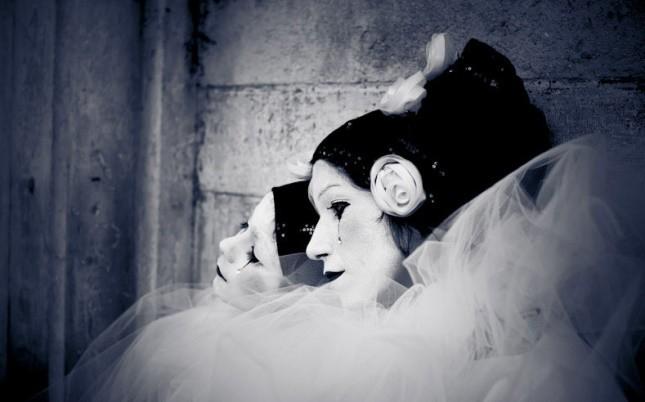 Maschera di Pierrot o Pedrolino, una della maschere che nasce a Venezia nel 1750 con La Commedia dell'Arte di Carlo Goldoni