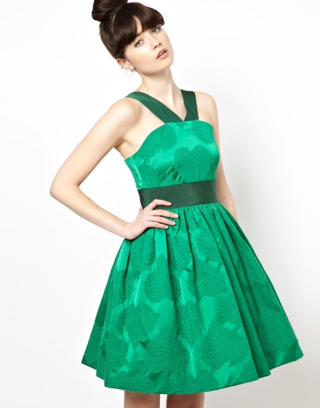 Vestito verde in jacquard