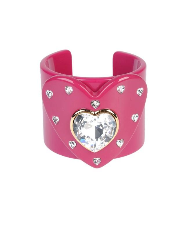 Bracciale a polso, rosa fucsia con cuore in vetro di Dolce & Gabbana, Yoox
