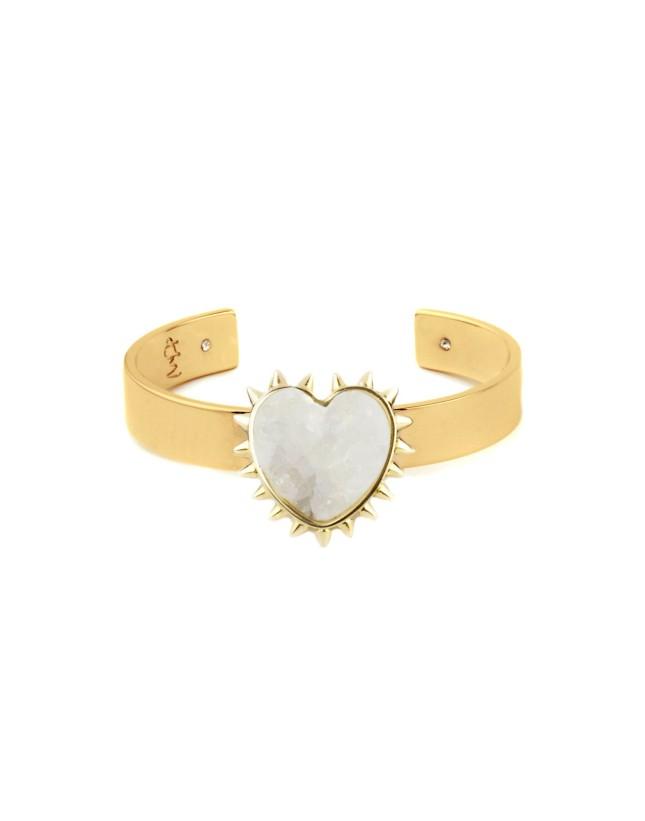 Bracciale in ottone effetto dorato con cuore in agata, Maria Francesca Pepe per Yoox