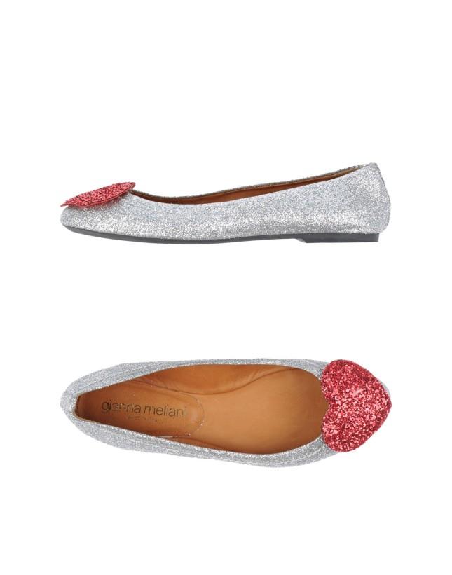 Ballerine con cuore rosa scuro e glitter argento di Gianna Meliani per Yoox