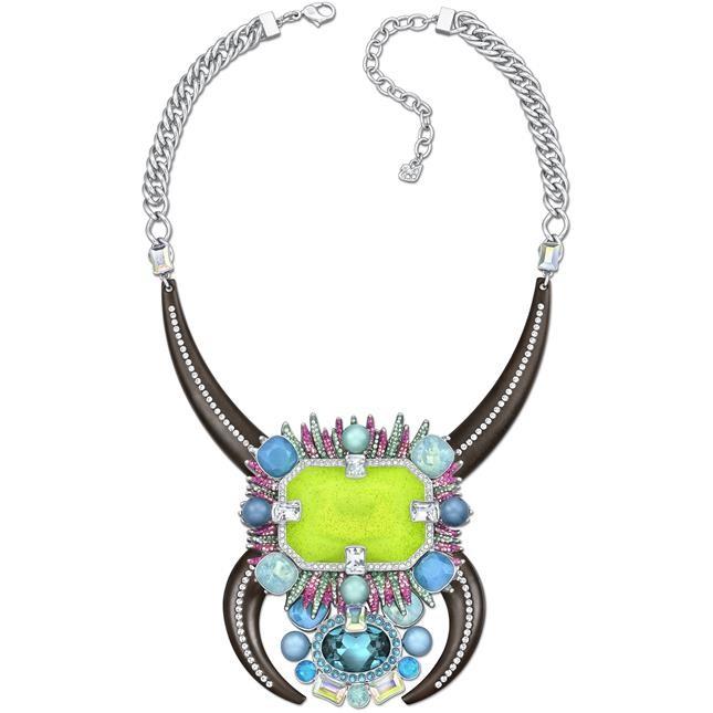 mod. Adenium - collier rodiato dai colori fluo e  stile tribale con inserti di legno, bead opalescenti, smalto € 295,00