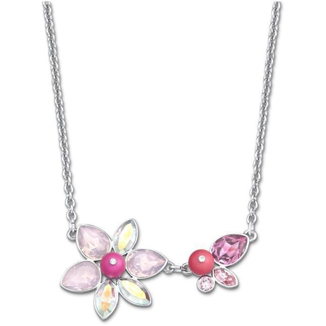 mod. Adorn Neon Small - collana  palladiata con cristalli rosa che compongono un mtivo floreale € 79,00
