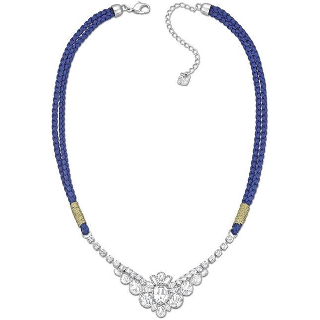 mod. Akimbo collier palladiato con un cordoncino in raso blu intenso intrecciato,  con un delicato filo dorato e Clear Crystal € 119,00