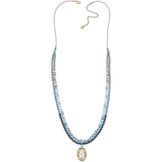 mod. Azore- filo placcato oro alterna bead in cristallo dalle nuance azzurre.€ 149,00