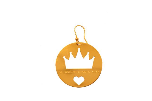 Aonie, orecchini con corona e cuore