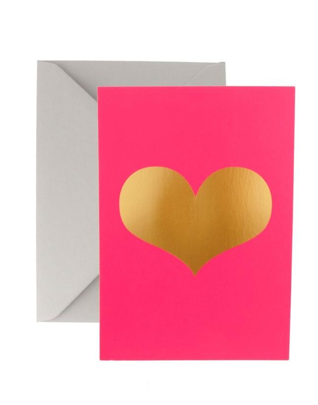 Biglietto semplice pink fluo con cuore per Asos