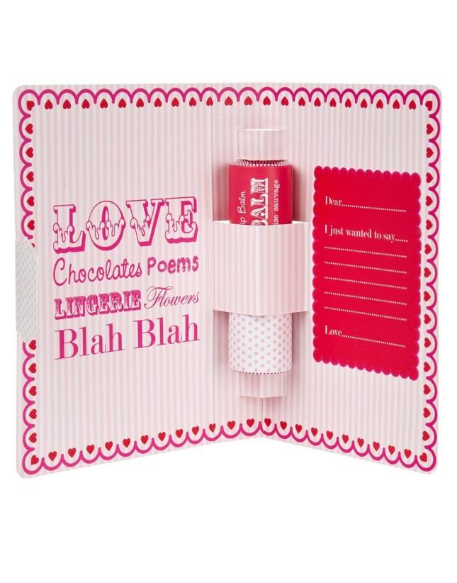 Cartolina d'amore con burrocacao, particolare interno con cocoa butter rosso, Asos