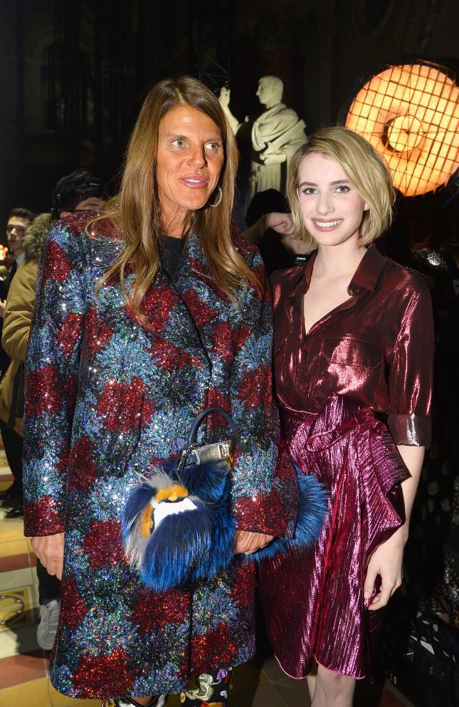 Anna Dello Russo ed Emma Roberts alla sfilata di Lanvin