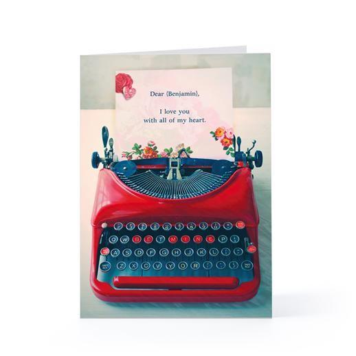 Biglietto con macchina da scrivere in stile vintage per Hallmark.