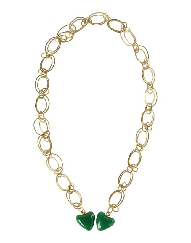 Collana in ottone con cuoricini verdi in resina, Livia Firth Design, Yoox
