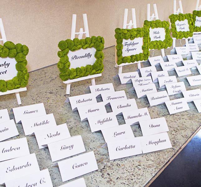 Cornici di fiori e cartoncino personalizzato per il tableau proposto da Sweet White Weddings. Foto Carlo Beccalli