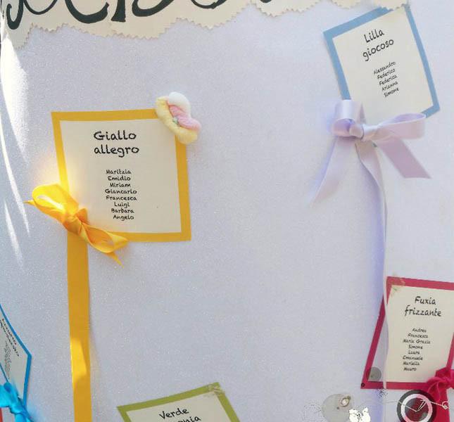 il tema dei colori abbianto alle caramelle per un tableau giocoso. A cura di Sweet White Weddings.