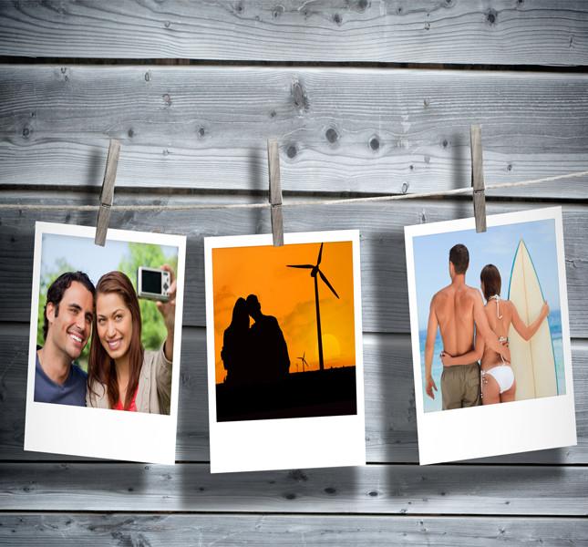 Un'idea sfiziosa e personale: un tableau realizzato con polaroid degli sposi: così ogni ospite avrà una foto ricordo.