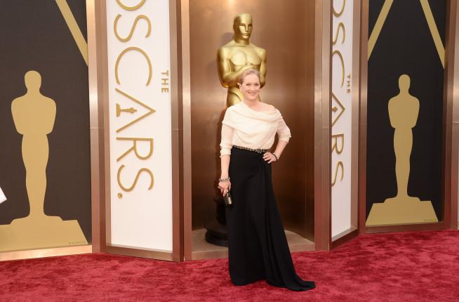 Maryl Streep agli Oscar 2014. L'attrice detiene il record di maggior numero di candidature
