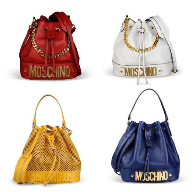Borse a secchiello Moschino collezione p/e 2014 nelle 4 varianti di colore