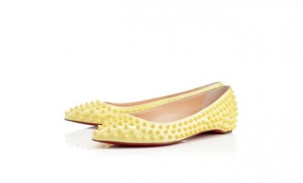 Ballerina Louboutin collezione ss2014 con borchie color giallo