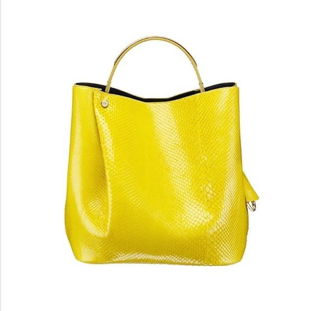 Borsa a secchiello in pitone giallo Dior collezione p/e 2014