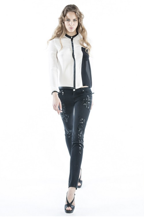 Camicia black and white e pantaloni neri con dettagli. Lerock SS 2014