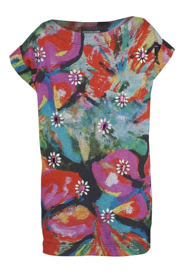 MARCOBOLOGNA Mini dress con applicazioni bijoux. Ispirazione Seventies con fiori multicolor