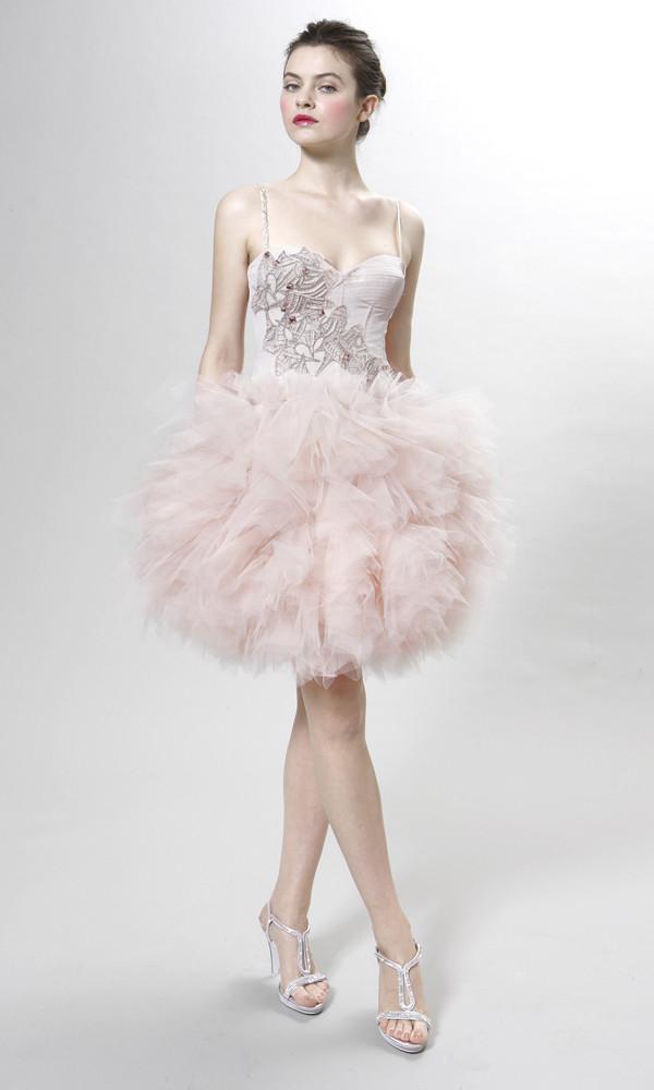 Vestito di Peter Langner con corpetto riccamente ornato e gonna tutù in tulle rosa