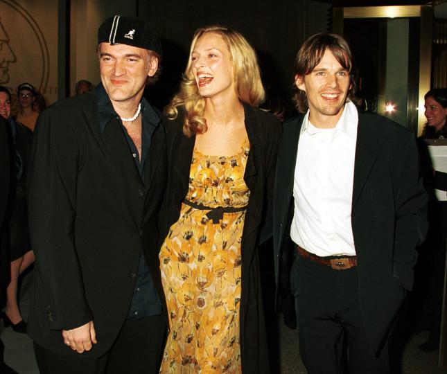 Il regista Quentin Tarantino, Uma Thurman e l'attore Ethan Hawke