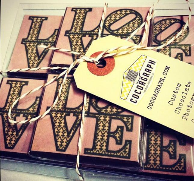 Potete stampare sul cioccolato dichiarazioni d'amore... Foto: Cocoagraph