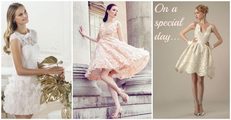In pizzo, in puro stile anni Cinquanta, dai colori brillanti e dai dettagli eccentrici: scegli l'abito corto per il tuo matrimonio, tra le tante proposte delle collezioni 2014