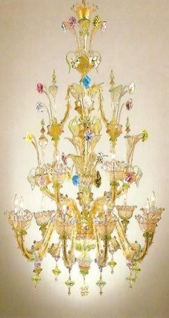 lampadario murano decorato e colorato
