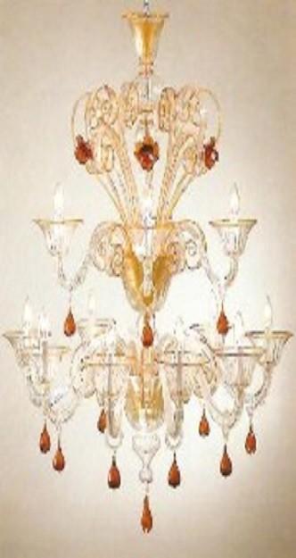 lampadario murano ambra e oro