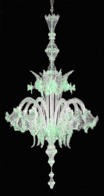 lampadario murano verde