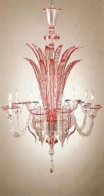 lampadario murano moderno rosso