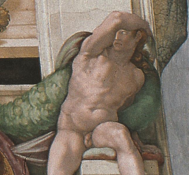 Michelangelo Buonarroti Ignudo, particolare della volta della Cappella Sistina,1508-1512 Affresco © Musei Vaticani