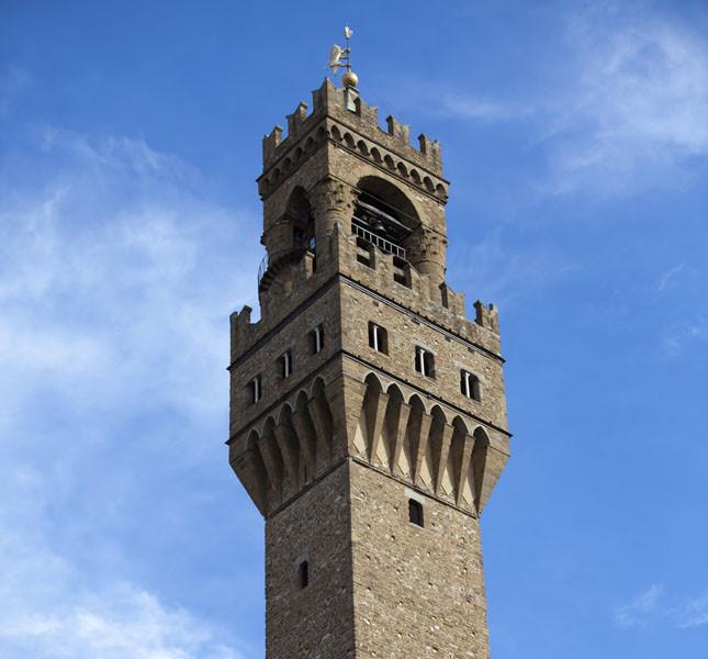 La torre di Palazzo Vecchio a Firenze.
