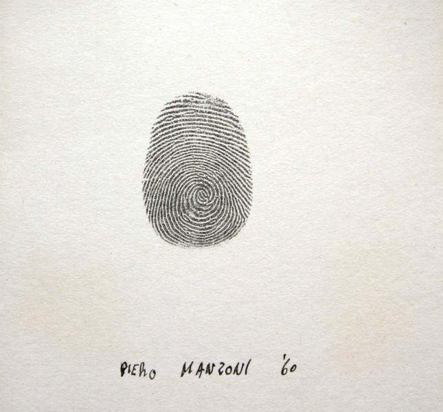 Piero Manzoni - Impronta, 1960 - Inchiostro su carta, 10x7,5 cm, Collezione privata