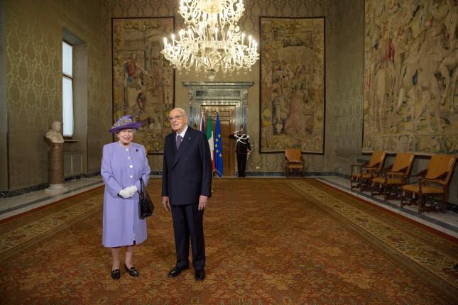 La regina Elisabetta e Napolitano nel Palazzo del Quirinale