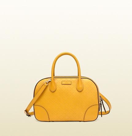 Borsa gialla con manico e tracolla di Gucci