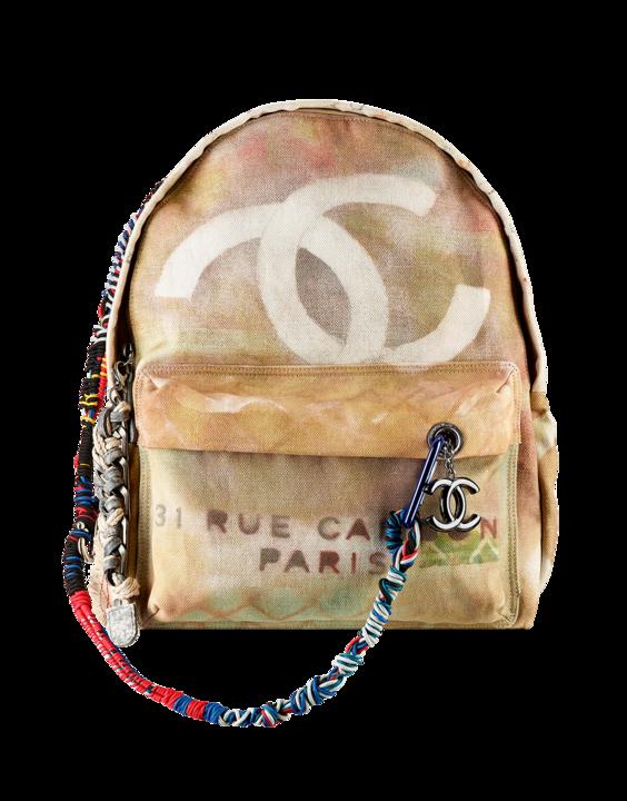 Zaino grande Chanel, in tela stampata effetto graffiti, impreziosito con corde multicolore