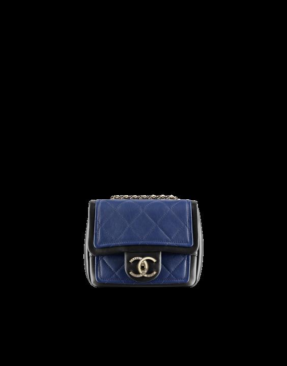 Mini bag Chanel, in pelle bicolore blu e nero
