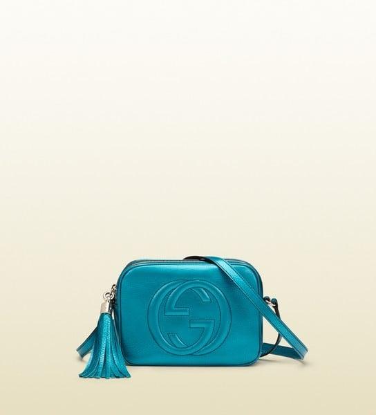 Tracolla Gucci, modello Disco Bag, il pelle metallizzato