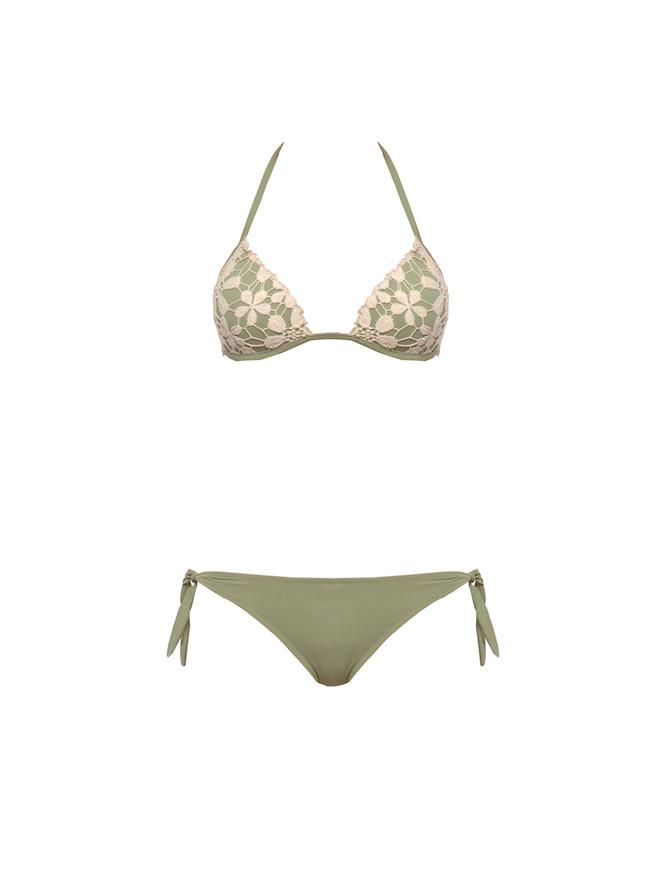 Bikini con triangolo ricamato
