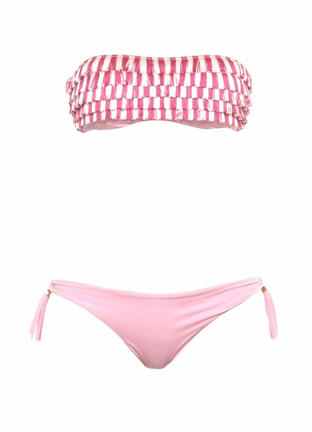 Bikini a fascia con frange bicolore