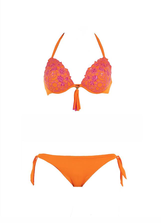 Bikini con push up e fiocco centrale