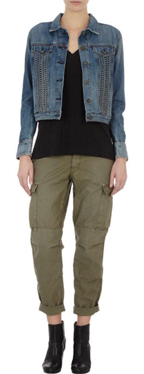 Giacca di jeans con dettaglio traforato nella parte anteriore