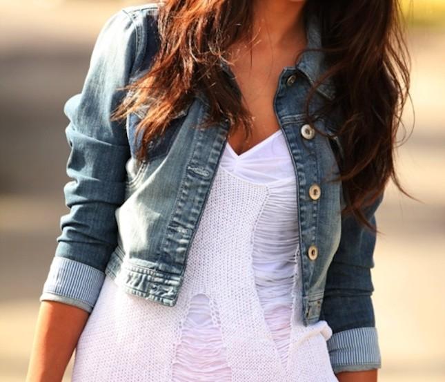 Giacca di jeans corta con taglio dritto