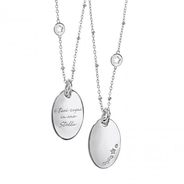 Collana in argento 925 ‰  con  diamanti
