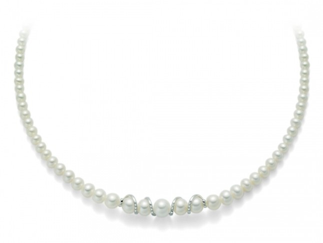 Collana in oro, perle e diamanti