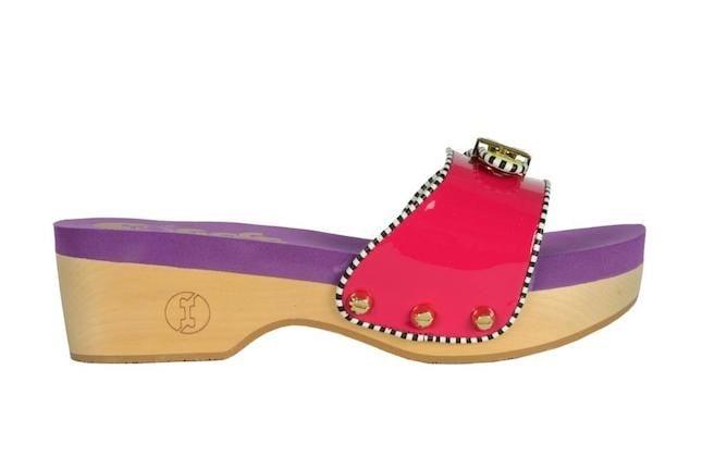 Zoccolo basso in legno Flogg viola e rosso