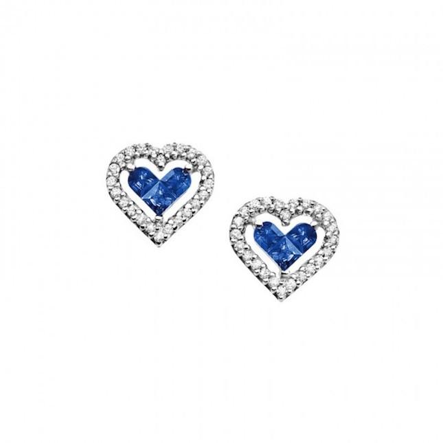 Orecchini Amor Mio Oro 18 kt con diamanti e zaffiri blu